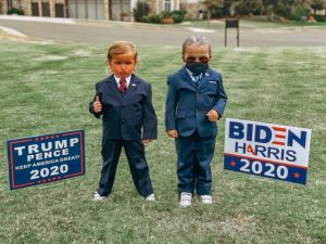 Garza Twins dressed as Donald Trump and Joe Biden