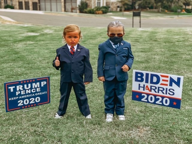 Garza Twins dressed as Donald Trump and Joe Biden